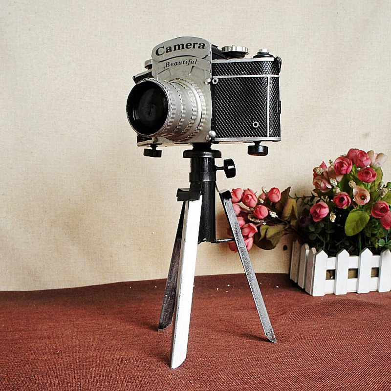 Vintage Metal Model Camera Photography Props Craft Bar Coffee Home Decor Miniature Handicraft Articles Figurines Christmas Gift