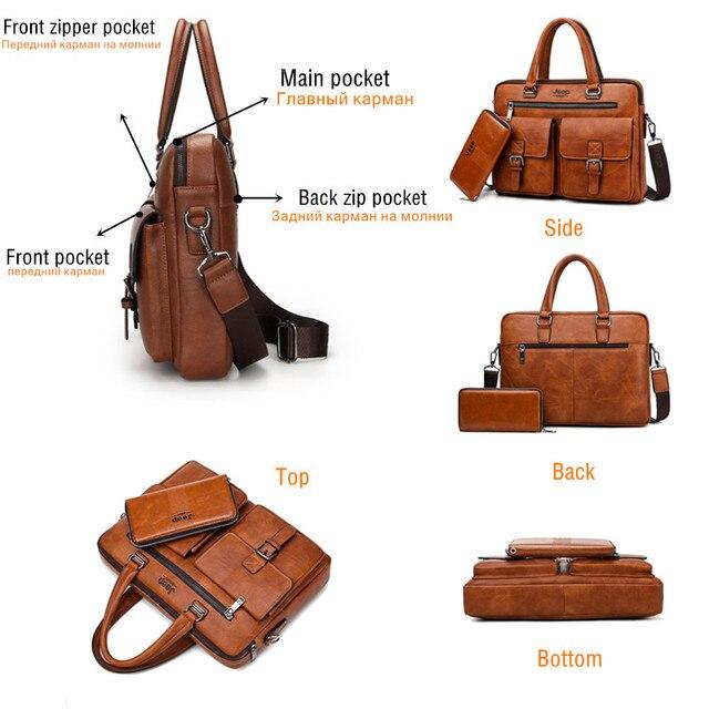 JEEP BULUO Marca Briefcase Bag 2 Man'sBusiness pçs/set Dividir Couro de Alta Qualidade Dos Homens Sacos De escritório Para 13. 3 polegadas portátil a4 causel 4