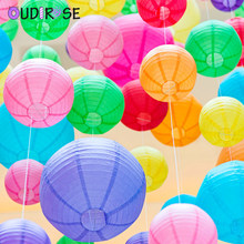OUDIROSE 4/6/8/10/12/16inch Round Paper Lanterns Birthday Wedding Decoration Gift Craft DIY Hanging Ball Party Holiday Supplies(China)