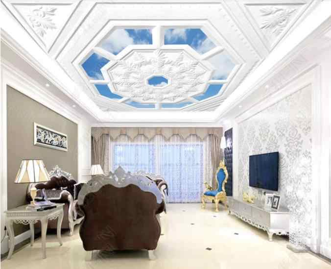 Custom 3D Ceiling Mural Wallpaper 3D Embossed plaster line 3D Wallpaper Living Room Photo Mural 3D Ceiling Home Improvement