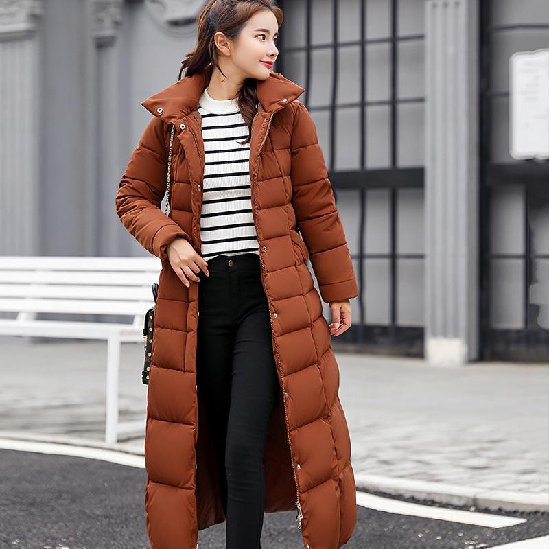 Winter jacket women 2018 fashion long slim solid color   parkas   women jacket   parkas   plus size high quality winter female coat