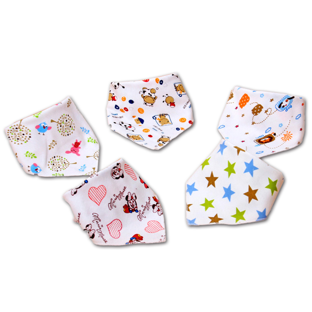 Baby Bibs 5 Pcs Cute Cotton Cartoon Triangle Feeding Bib Animal Baby Scarf Bibs Slabber Absorbent Cloth Double Layers Baberos