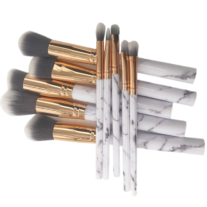 10Pcs White Marble Makeup Brush Kit Powder Brush Portable Make up Brush Set Cosmetic Tool Eye Penciel Foundation Brush