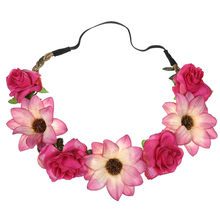 Ladies Floral Wedding Garland Females Festival Beach Party Hair Ring Rose Sunflower Hair Accessories аксессуары для волос(China)