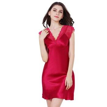 29dd95bc6 Pijamas de seda pura mujeres verano v-cuello rojo Sexy pijamas dormir  vestido Natrual tela ropa de alta calidad libre del envío