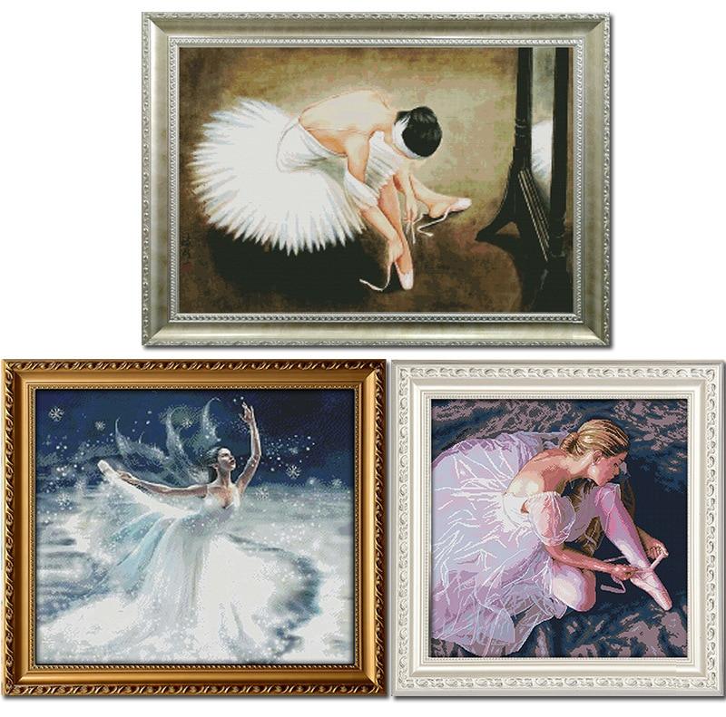 Beautiful Ballerina DMC Fabric DIY handwork Räknade kinesiska Cross - Konst, hantverk och sömnad
