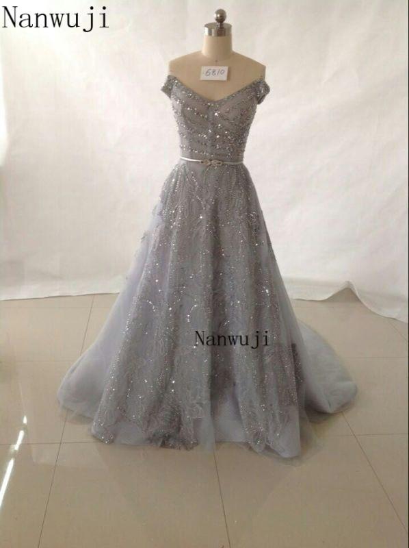 Vestido De Festa Лодка шеи длинным Серый вечернее платье с Кепки рукавом спинки Beadings и кристаллами Длинное платье для выпускного вечера