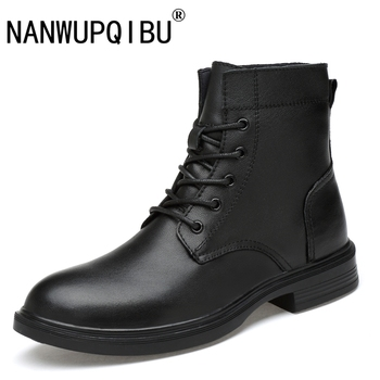Autumn Winter Genuine Leather Ankle Boots Men Shoes With Fur warm Vintage Male Casual Motorcycle Boot plus size Martin boots