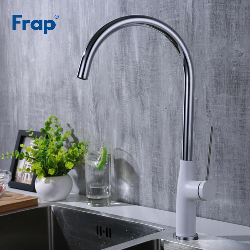 Frap cuisine évier mélangeur robinet ktichen mitigeur monotrou pont monté robinets blanc corps grue torneira para cozinha Y40007