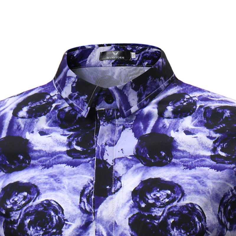 Male Shirt Short-Sleeves Tops Slim Casual Purple flower Mens Dress Shirts Slim Men Shirt