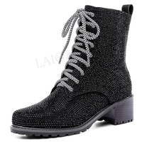 LAIGZEM 2020 Shiny Studded Women Ankle Boots Chunky Heels Lace Up Boots Winter FASHION Show Shoes Botas Mujer Size 34 39