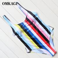 OMKAGI Brand Print U Backless One Piece Swimwear Women Summer Swim Bathing Suit Monokini Swimsuits Female