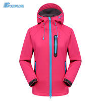 Goexplore Women's Softshell Jacket Windstopper Waterproof Hiking Jackets Outdoor Thick Warm Coats Trekking Camping fleece Jacket