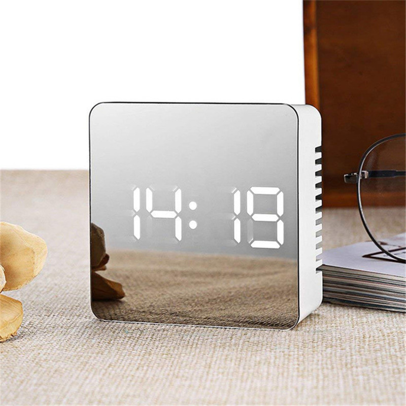 LED Digital Alarm Clock Mirror Digital Clock LED Snooze Night Lights Temperature Table Clocks USB Despertador Home Decor coffee table