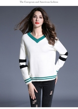 Simple women's autumn and winter loose fashion V-neck long-sleeved sweater top CO8437