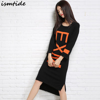 Ismtide Knitted Dresses Woman Cashmere Sweaters Warm Winter Long Sleeve Female Pullovers Round Neck Loose Sweater Dress Knee Len