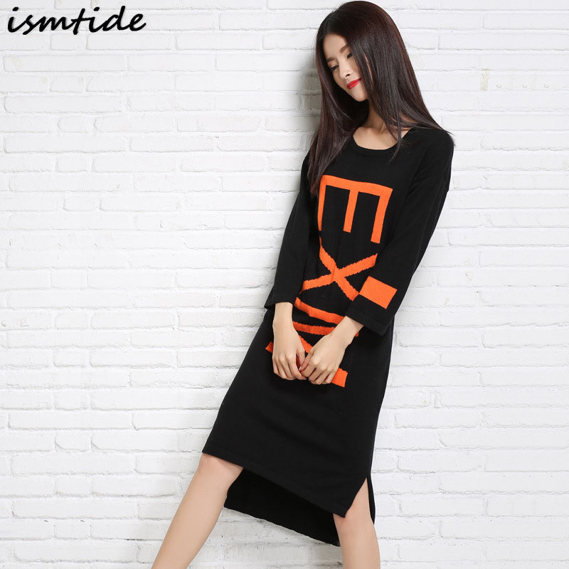 Ismtide Knitted Dresses Woman Cashmere Sweaters Warm Winter Long Sleeve Female Pullovers ...