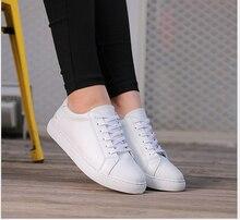 2017 Новая Мода Плоские туфли Из Натуральной кожи Женщины Повседневная Обувь на Шнуровке мокасины белый обуви