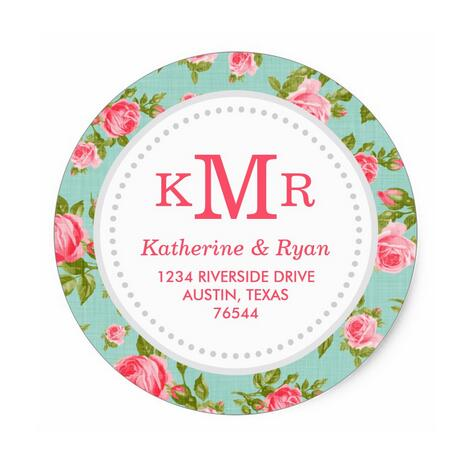 1.5inch Girly Vintage Roses Floral Monogram Address Labels Classic Round Sticker-in Stationery Stickers from Office & School Supplies on AliExpress - 11.11_Double 11_Singles' Day 1