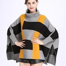 """Осень и зима свободный свитер с высоким воротником женский плащ Полосатый плед открытый вилка свитер """"летучая мышь"""" пончо"""