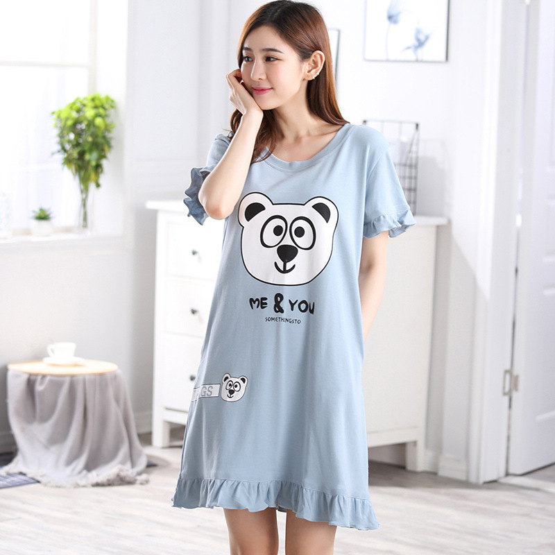 0283ca994d Women Nightgowns Summer Sleepwear Casual Night Dresses Plus size Short  Sleeve Letter cartoon Print Loose Nightdress Home Clothes-in Nightgowns    Sleepshirts ...