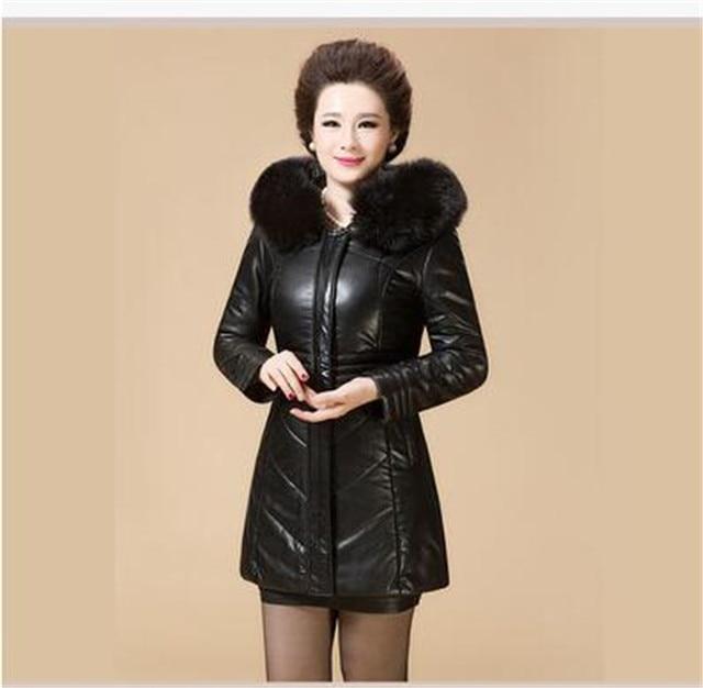 US $55.08 49% OFF Herbst Winter Neue Verdicken Lederjacke Frauen Jacke Leder Parka Damen Mittleren Alters Dünner Mantel Mit Kapuze Plus Größe Mode