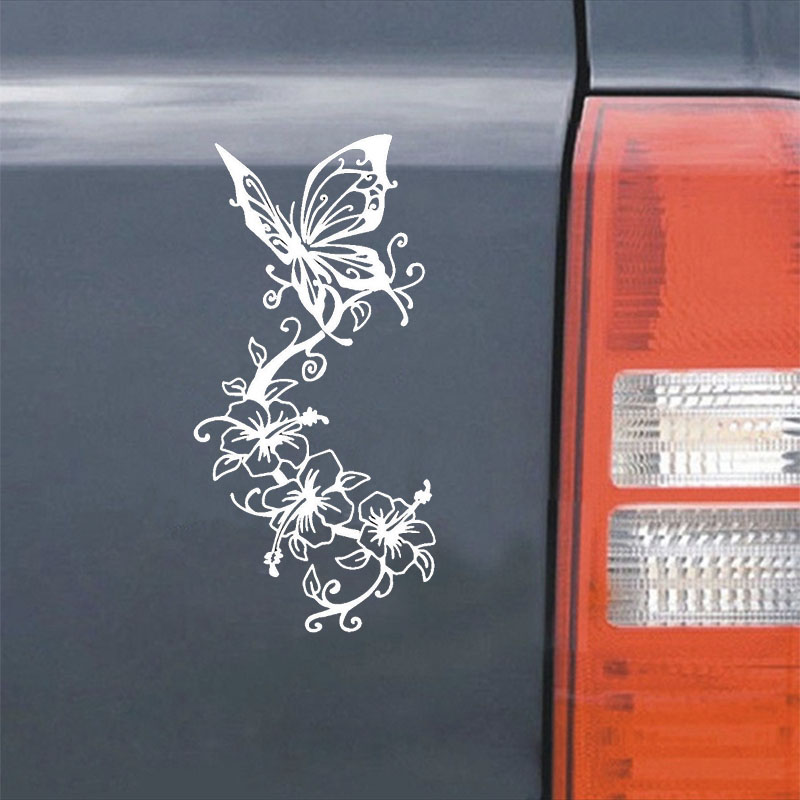 Car styling Vinyl Butterfly flowers Car Sticker Art Animal Car Decal Creative Fansy auto Accessories for renault bmw ford audi