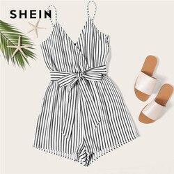 SHEIN rayé Cami barboteuses femmes combinaison avec ceinture femmes vacances plage sans manches Sexy combinaison 2019 été combishort