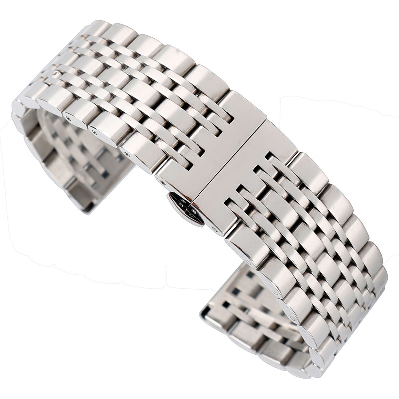 HQ Stainless Steel Watchband 20mm 22mm 24mm Silver Solid Link Watch Band Strap Replacement Bracelet for Men Women 2 Spring Bars 20mm watchband stainless steel smart watch band strap bracelet for motorola moto 360 2 2nd gen 2015 42mm smartwatch black silver