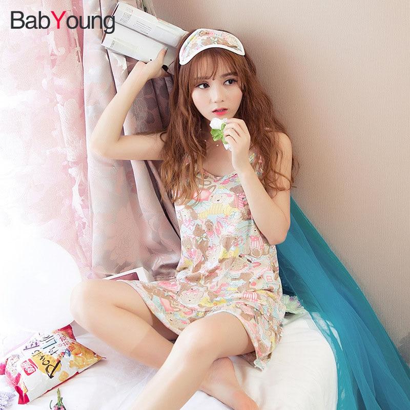 BabYoung Girl Nightdress Female Summer Sleep Dress Cotton Loose V Collar Nightdress Home Sleepwear Cute Princes Nightgown girl