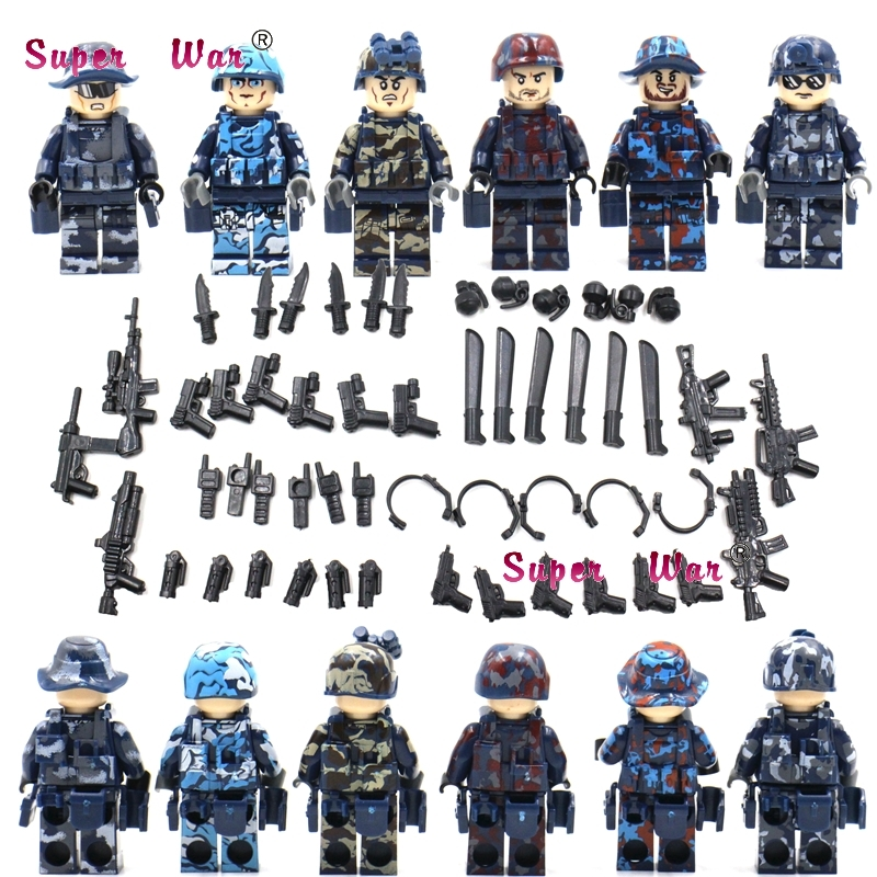 Blocks 6pcs Military Series Team Police Guns Awp Weapons Pack Army Arms Weapon Building Blocks Action Bricks Toys For Children Model Building