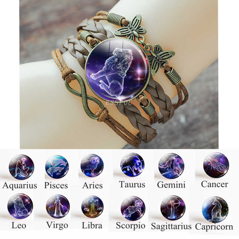 12 Zodiac Signs Punk Rope Leather Bracelet Bangles Pisces Aries Gemini Leo Scorpio Constellation Bracelet For Women Jewelry Gift
