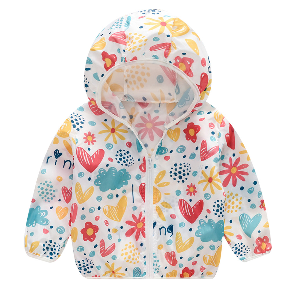 Toddler Kids Summer Sunscreen Jackets Printing Hooded Outerwear Zipper Coats title=