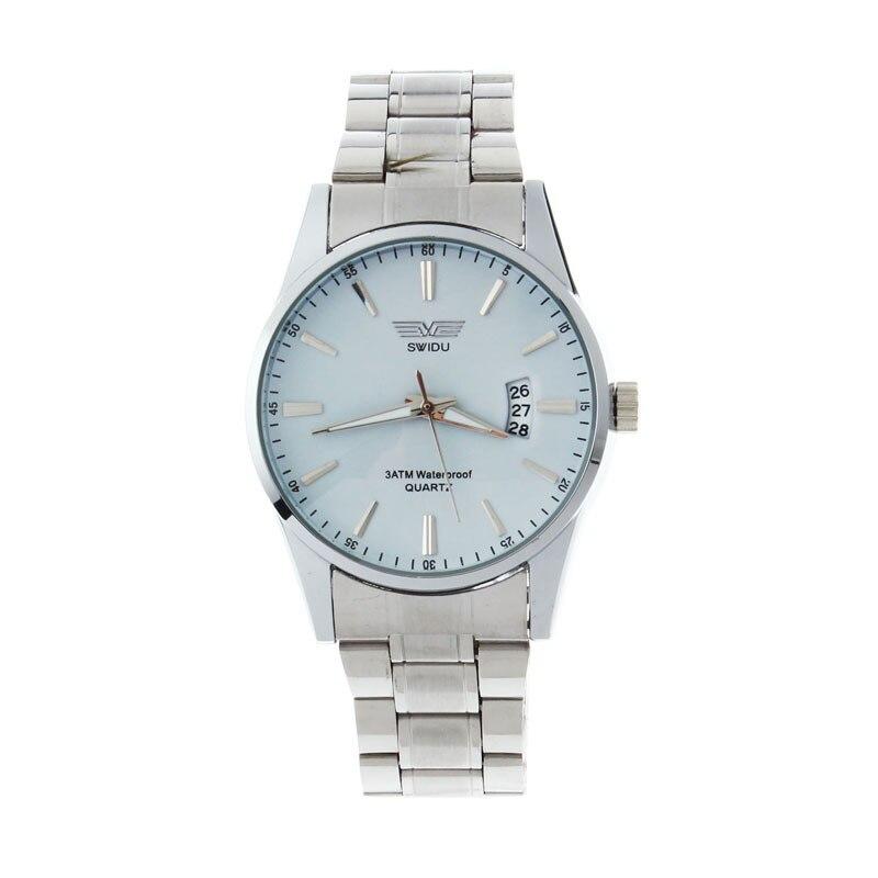 Man Watch 2018 Mens Stainless Steel Band Analog Quartz Business Watch Fashion Sport Waterproof Silver Wrist Watch zegarek meski