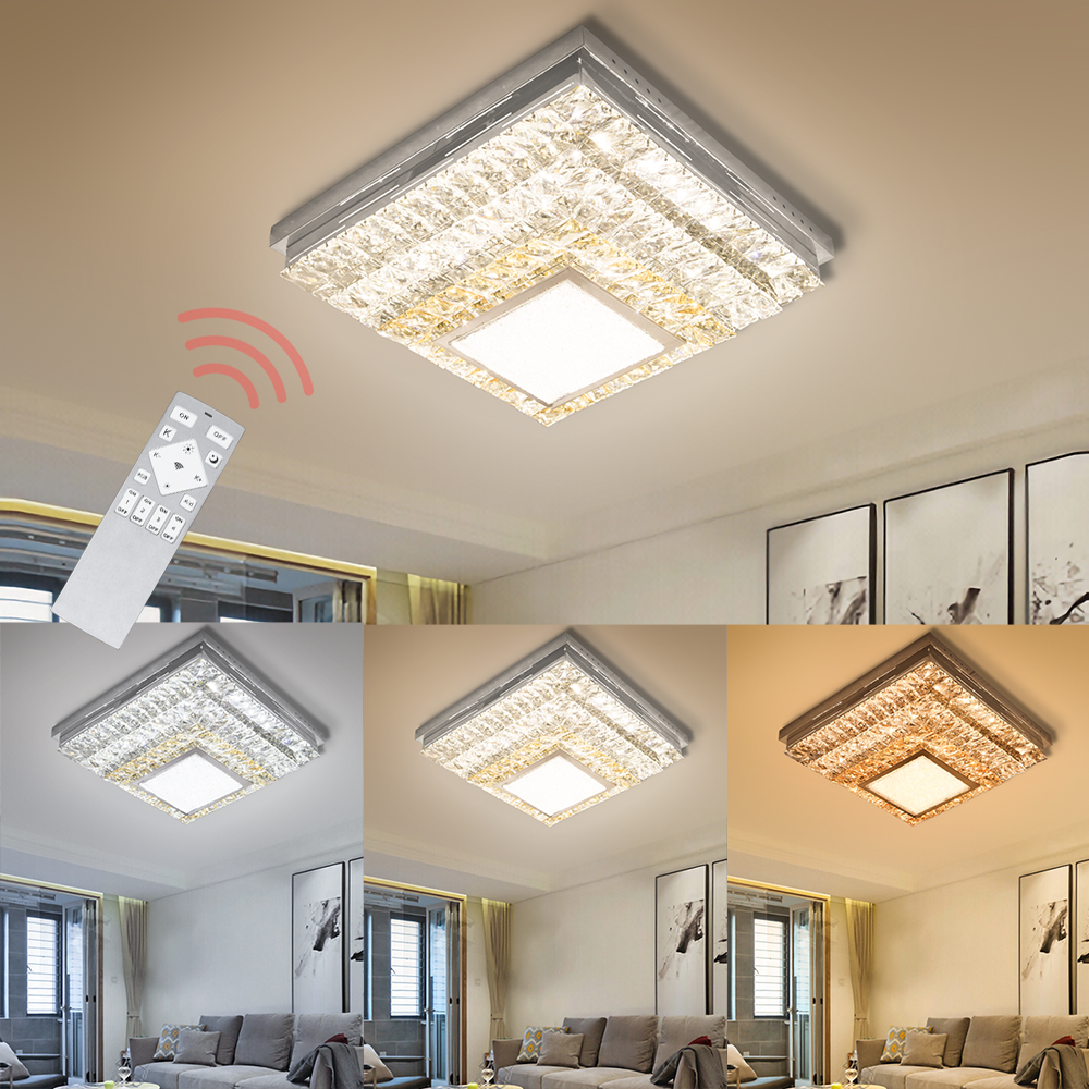 Square 48W 64W Modern LED Ceiling Light Crystal Ceiling Lamp Dimmable Color Change Home Lighting Indoor Living Room Bedroom Hall metal iron art led ceiling panel light dimmable 12w 36w 48w 72w 108w 960 9720lm indoor lamp square for living room bedroom