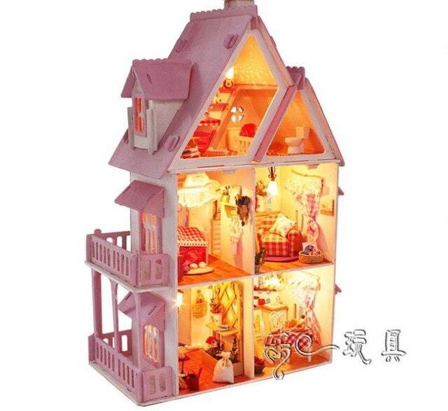 X001 Sunshine Alice DIY Wooden Miniatura Doll House Furniture large Handmade 3D Miniature Dollhouse handmade Toys Gits