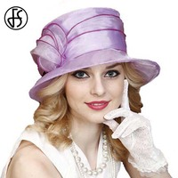 Purple Elegant Large Brimmed Kentucky Derby Hats Summer Style Beach Flower Hat