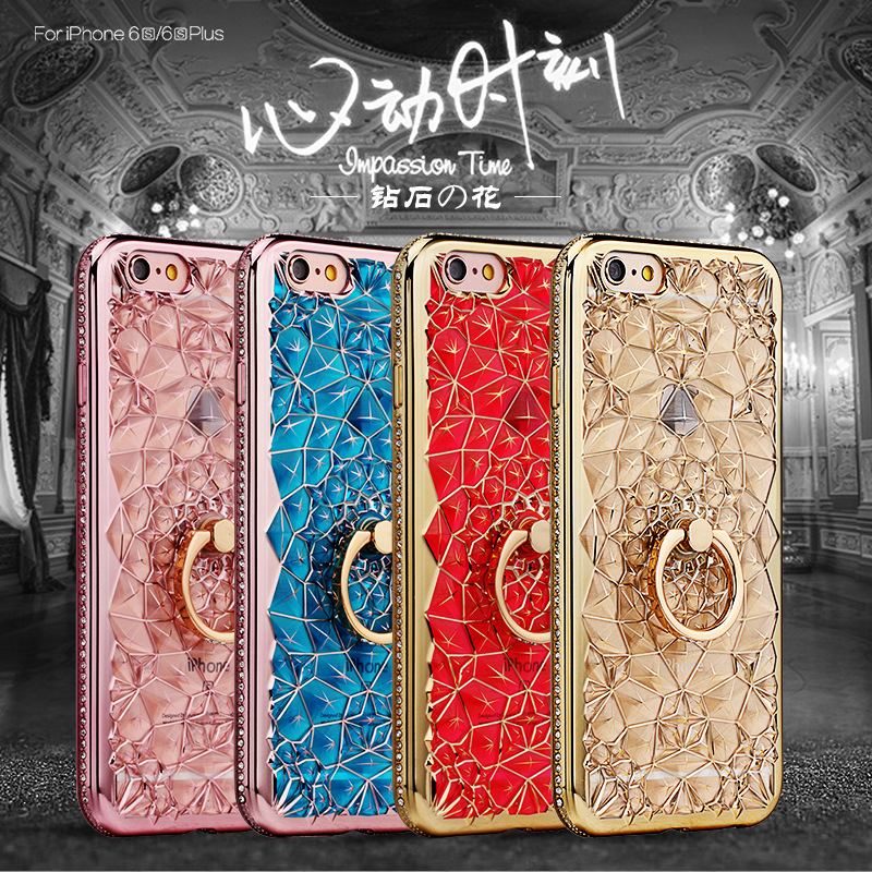 HTB17DZGQ6DpK1RjSZFrq6y78VXaz For iPhone 11 Pro XS Max XR Case Luxury 3D Soft Ring Capa For iPhone 5 6 6S 7 8 Plus Ring Silicon Glitter Rhinestone Stand Cover