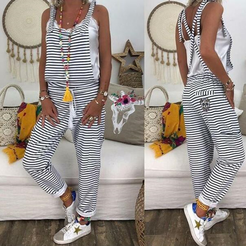 Women Loose Casual Baggy Bib Pants Rompers Striped   Jumpsuit   Overalls Sleeveless Summer   Jumpsuit