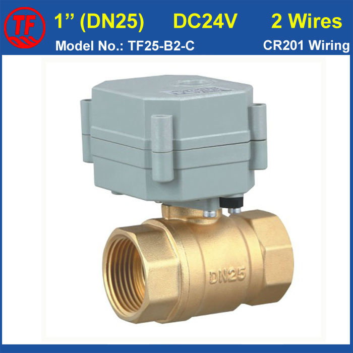 DC24V 2 Wires BSP/NPT 1  Electric Motor Valve With Indicator, Brass DN25 Actuated Ball Valve 1.0Mpa For Water Control mini brass ball valve panel mountable 450psi with lever handle chrome plated malexfemale npt