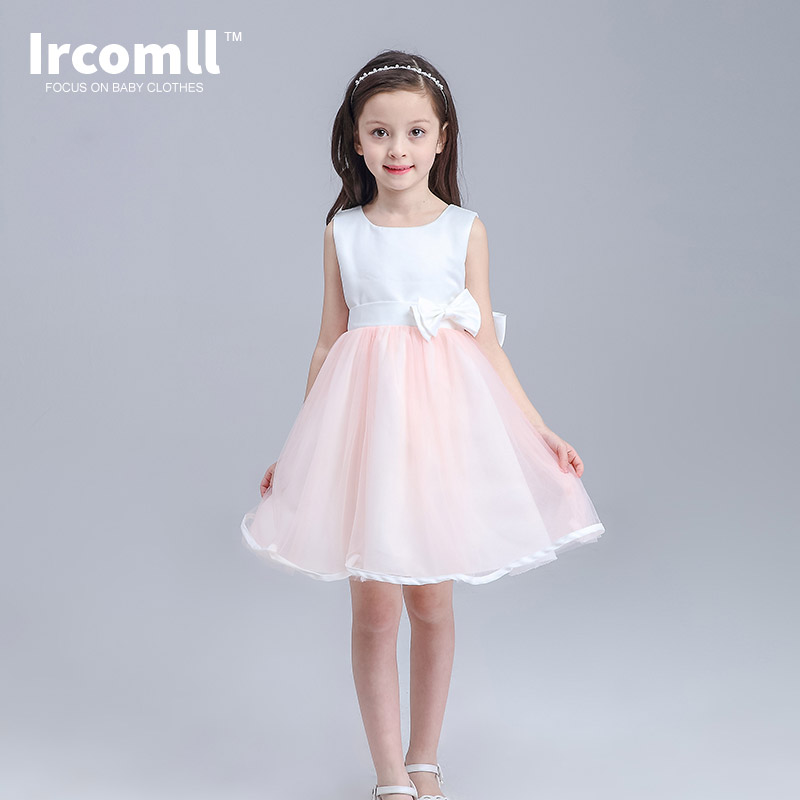 Summer Shrimp Pink Girls Dress Ball Gown Wedding Birthday Party Clothes For Girls Costume For Kids