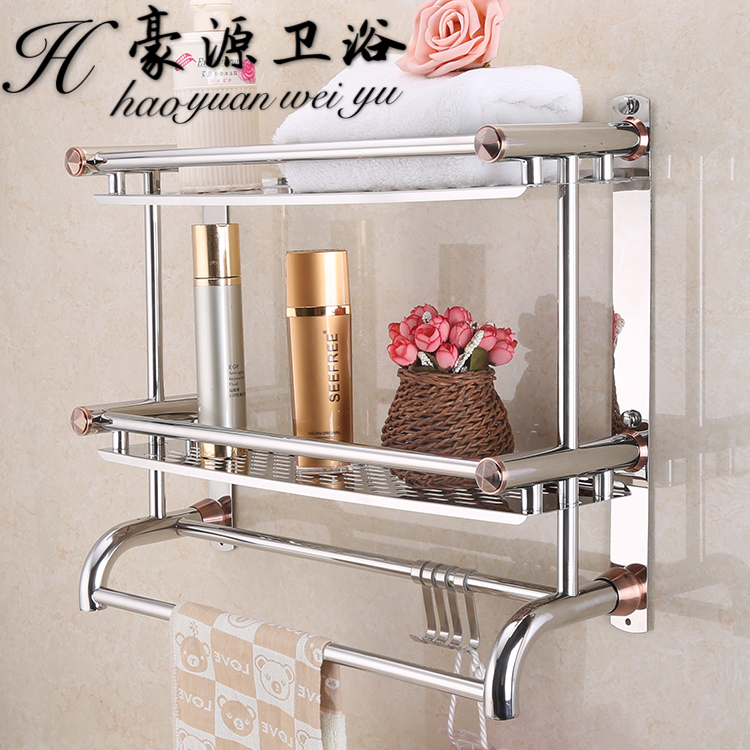 Double layer towel rack stainless steel 2 single tier towel rack bathroom shelf hardware accessories stainless steel bathroom towel rack rotation activities bar single pole double hanging three bathrooms