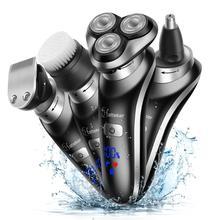 HATTEKER Rotary Elektrische Rasierer 4 in 1 Gesichts Elektrische Rasiermesser für Männer USB Aufladbare Pflege Kit Bart Nass Trocken Rasieren maschine