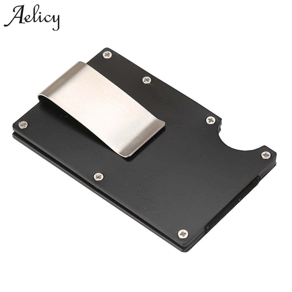 Aelicy Fashion Metal Credit Card Protector Black Business Cards Wallet Minimalist RFID Anti-chief Wallet Men Card Holder Women