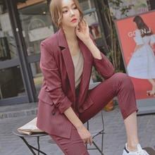 Trajes de pantalón a la moda para trabajo conjunto de 2 unidades para mujer chaqueta  Blazer de rayas de doble pecho y traje de s. c27d7d6971c