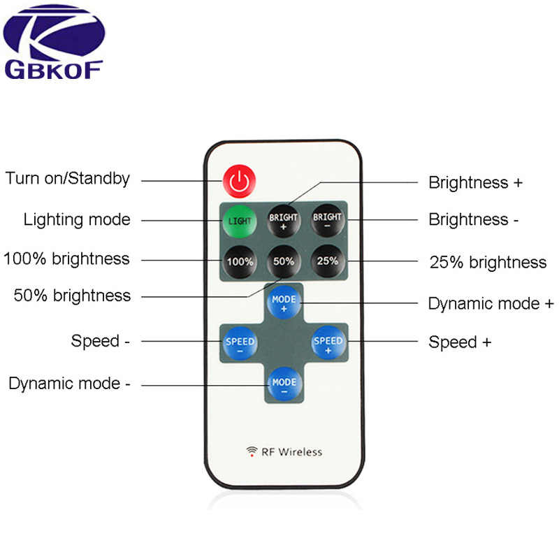 GBKOF Single color LED strip dimmer 11 key RF Wireless Remote Controller for 3528 2835 5050 5630 5730 led tape Free shipping