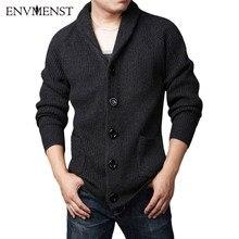 2017 herbst Envmenst Marke Kleidung Verdicken männer Strickjacke Pullover Warm Gestrickte Mantel Mode Big Size Solide Pullover Männer