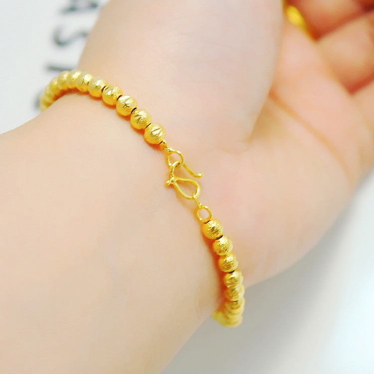 Free Shipping Clical Top Trendy 3mm Small Beads 24k Gold Plate 1 Quality Handmade In Hongkong Elegant Bracelet Strand Bracelets From