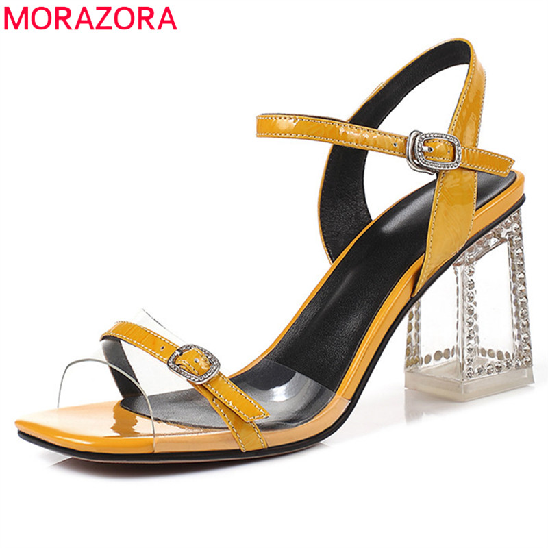 MORAZORA 2019 top quality patent leather sandals women shoes buckle elegant high heels summer shoes fashion party shoes woman MORAZORA 2019 top quality patent leather sandals women shoes buckle elegant high heels summer shoes fashion party shoes woman