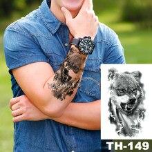 Adesivo de tatuagem temporária, à prova d' água, padrão de floresta, wolf, água, homem selvagem, arte corporal, flash, tatuagem falsa